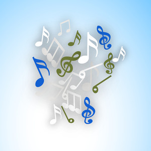 Abstract musical background with colorful musical nodes