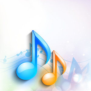 Abstract musical background with colorful musical notes