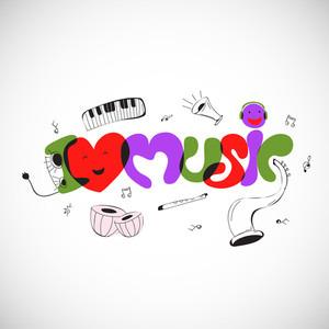 Abstract musical background with colorful text Music