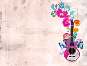 Abstract Musical Background With Guitar And Florals.