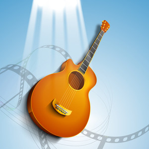 Abstract Musical Background With Guitar And Movie Reel Design