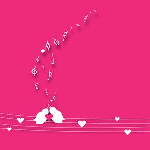 Abstract musical background with love birds singing a song