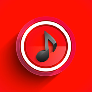 Abstract musical background with musical button on red