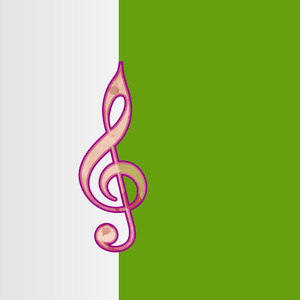 Abstract musical background with musical symbol on green and white backgound