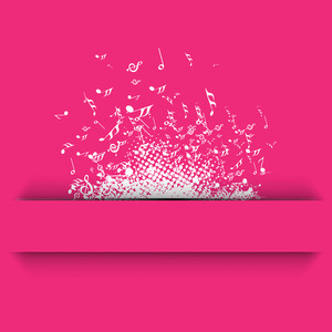 Abstract musical background with musical symbols on pink backgound.