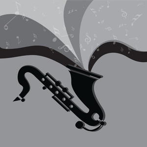 Abstract musical background with musical wave coming out from grey background.