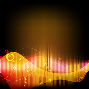 Abstract musical background with musical wave