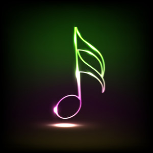 Abstract musical background with shiny and colorful node