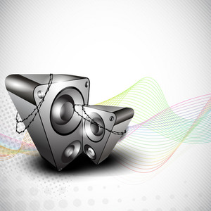 Abstract musical background with speaker on waves background