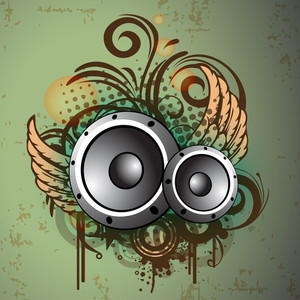 Abstract Musical Background Wth Speakers And Wings
