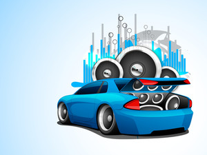 Abstract Musical Car With Loud Speakers