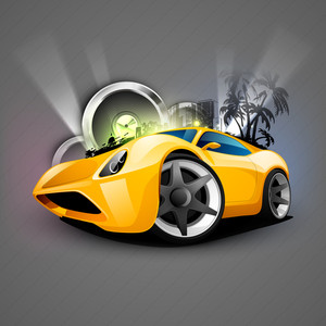 Abstract Musical Car With Speakers.