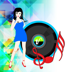 Abstract musical concept with beautiful lady singer