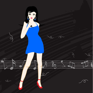 Abstract musical concept with beautoful lady singer