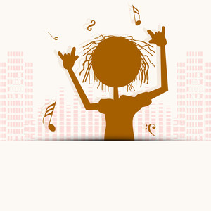 Abstract musical concept with brown silhouette of a man dancing