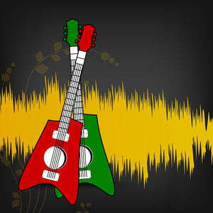 Abstract musical concept with colorful guitar on yellow and grey backgound