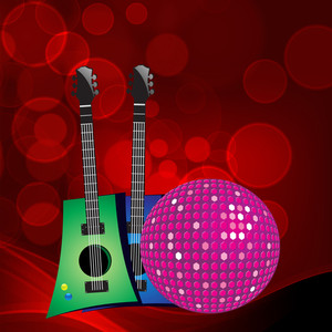 Abstract musical concept with colorful guitars and disco ball