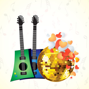 Abstract musical concept with colorful guitars and golden disco ball