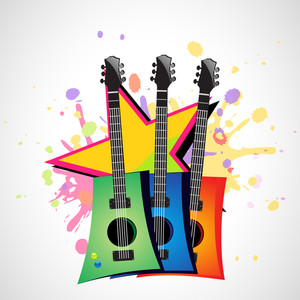 Abstract musical concept with colourful guitars