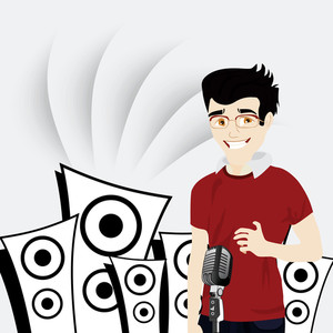 Abstract musical concept with cute singer and loud speakers
