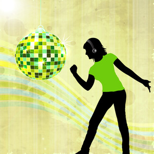 Abstract musical concept with dancing boy and disco ball