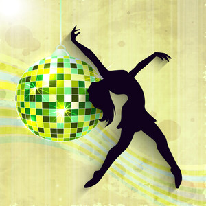Abstract musical concept with dancing girl and disco ball