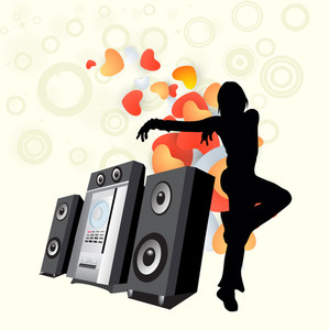 Abstract musical concept with dancing girl and loud speaker