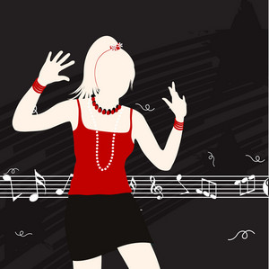 Abstract musical concept with dancing girl