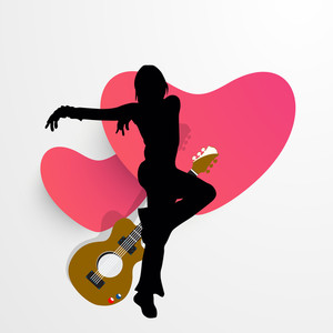 Abstract musical concept with dancing guy