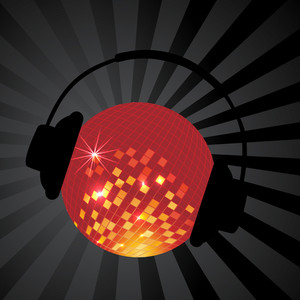 Abstract musical concept with disco ball and headphone