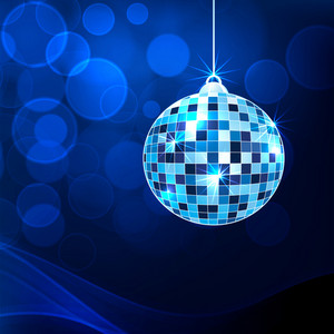 Abstract musical concept with disco ball