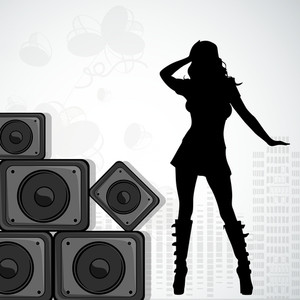 Abstract musical concept with disco dancing girl and loud speaker