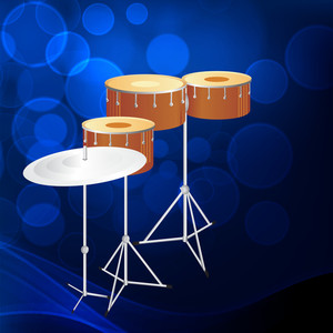Abstract musical concept with drum on blue background
