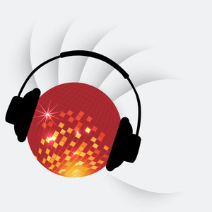 Abstract musical concept with golden ball and head phone