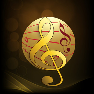 Abstract musical concept with golden ball and musical symbol