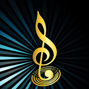 Abstract musical concept with golden music symbol