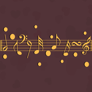 Abstract musical concept with golden musical nodes on brown background