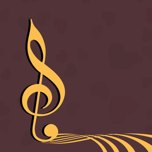 Abstract musical concept with golden node on brown background