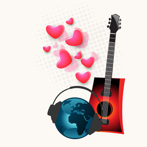 Abstract musical concept with guitar and globe