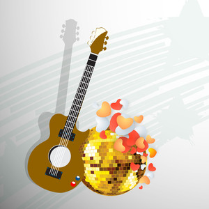 Abstract musical concept with guitar and golden ball