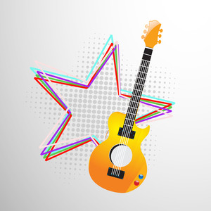 Abstract musical concept with guitar and star