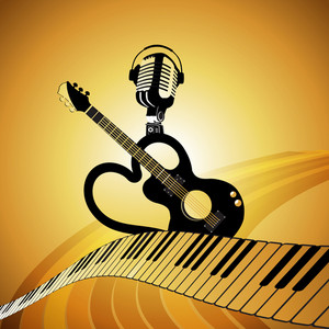 Abstract musical concept with guitar
