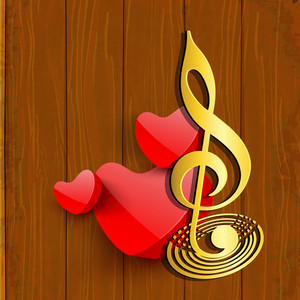 Abstract musical concept with heart and music symbol