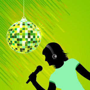 Abstract musical concept with lady singer and disco ball
