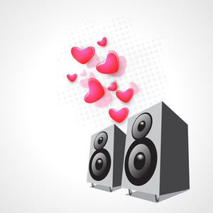 Abstract musical concept with loud speaker and hearts