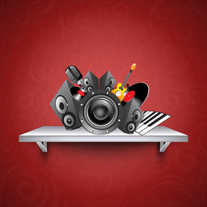 Abstract musical concept with loud speaker and musical instrument