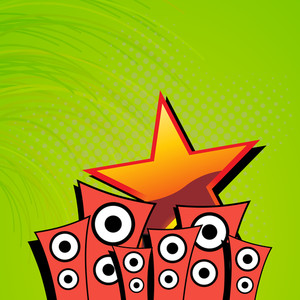 Abstract musical concept with loud speaker and star on green background