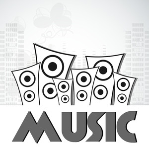 Abstract musical concept with loud speaker and stylish text