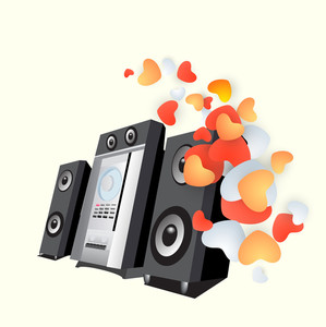 Abstract musical concept with loud speakers and heart shapes