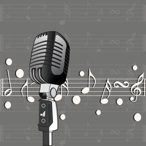Abstract musical concept with mike and musical sounds on grey background